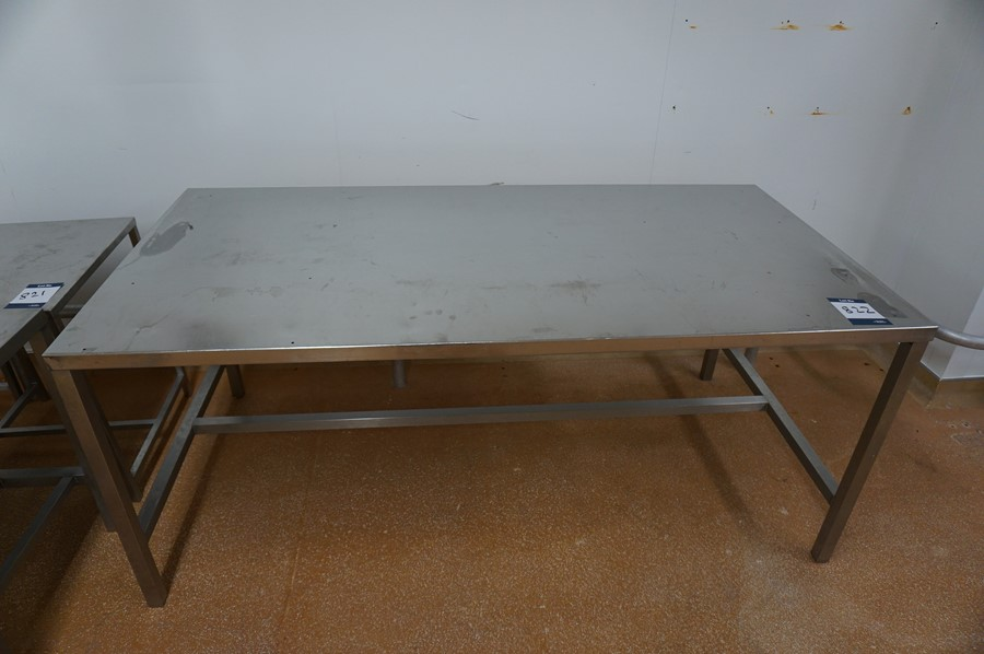 2 x Various stainless steel prep tables, each 1m x 2m x 0.86m (h) as lotted