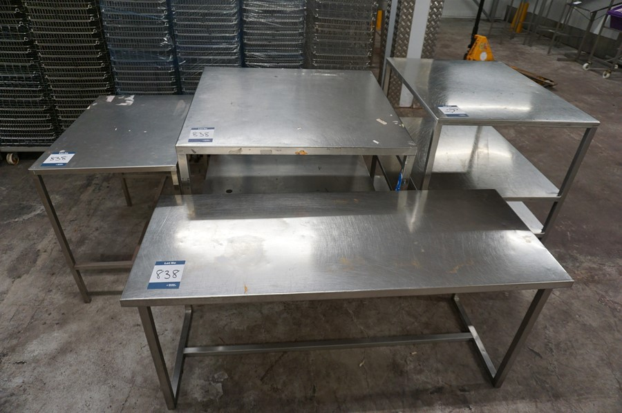 4 x Various stainless steel prep tables, as lotted