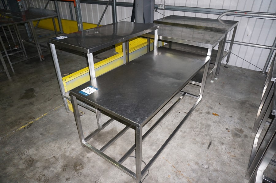 Lot 832 - 4 x Various stainless steel prep tables, as lotted