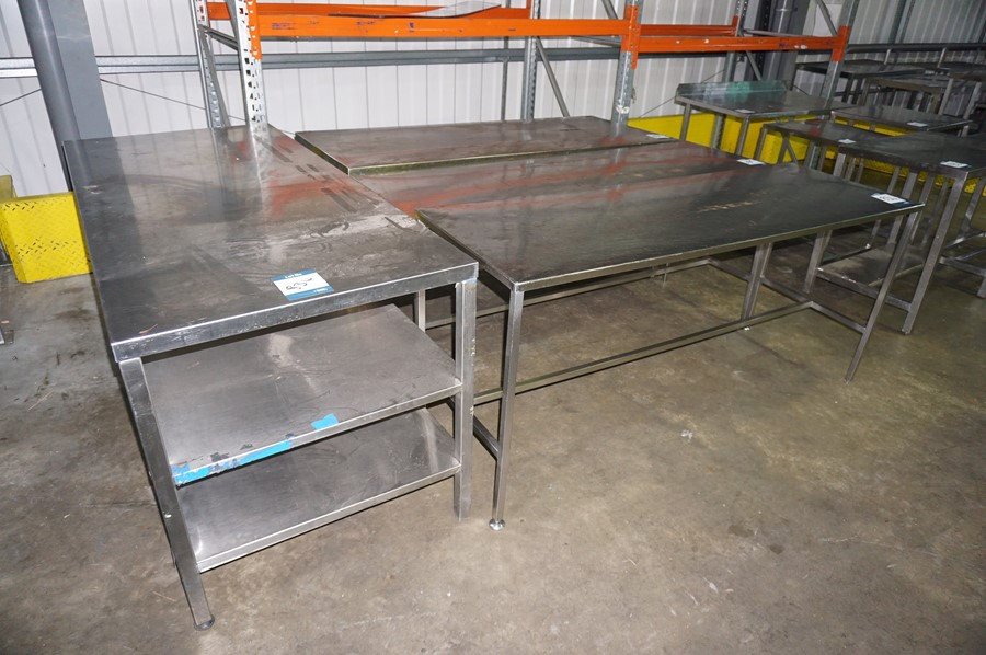 Lot 834 - 4 x Various stainless steel prep tables, as lotted