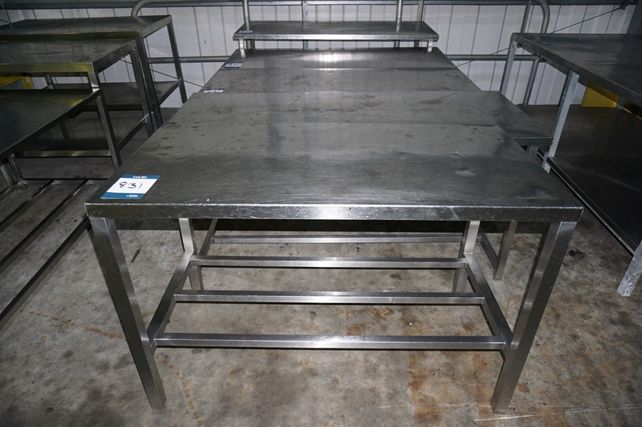 Lot 831 - 5 x Various stainless steel prep tables, as lotted
