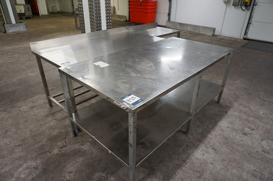 3 x Various stainless steel prep tables, as lotted