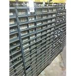 96 Compartment Bolt Bin with Contents of Pipe Hardware
