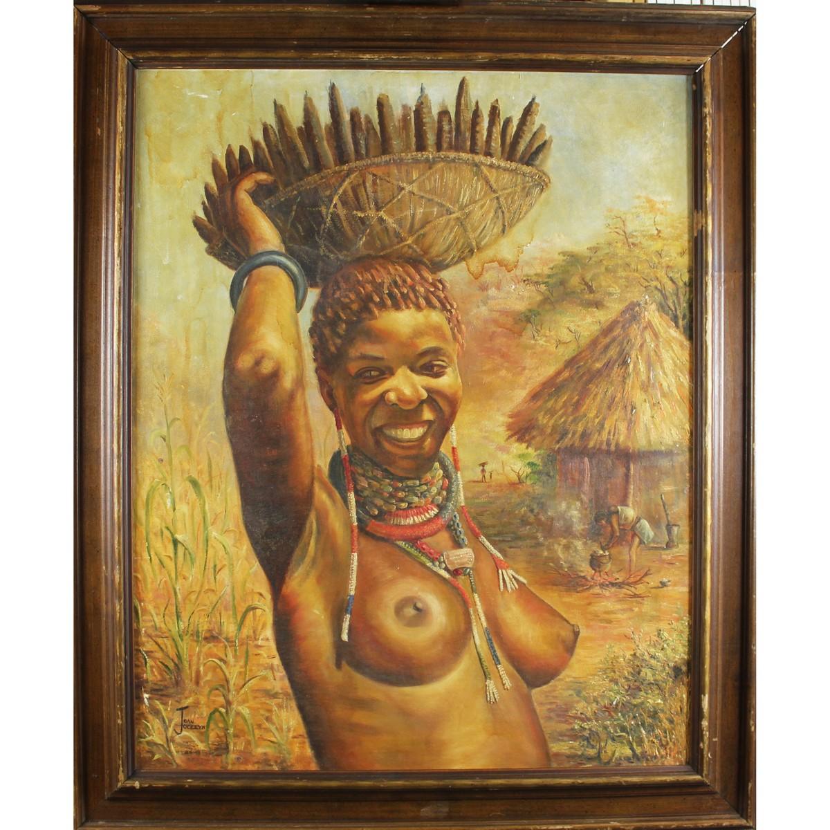 Lot 33 - Jocelyn, Joan Twentieth Century South African, Woman Carrying a Basket of Sea Pods