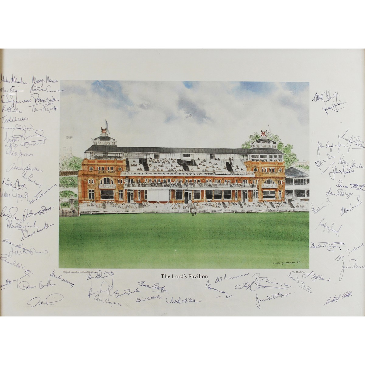 Lot 19 - Gentleman, David b1930 British Lords Pavilion with 57 Signatures of great cricketers