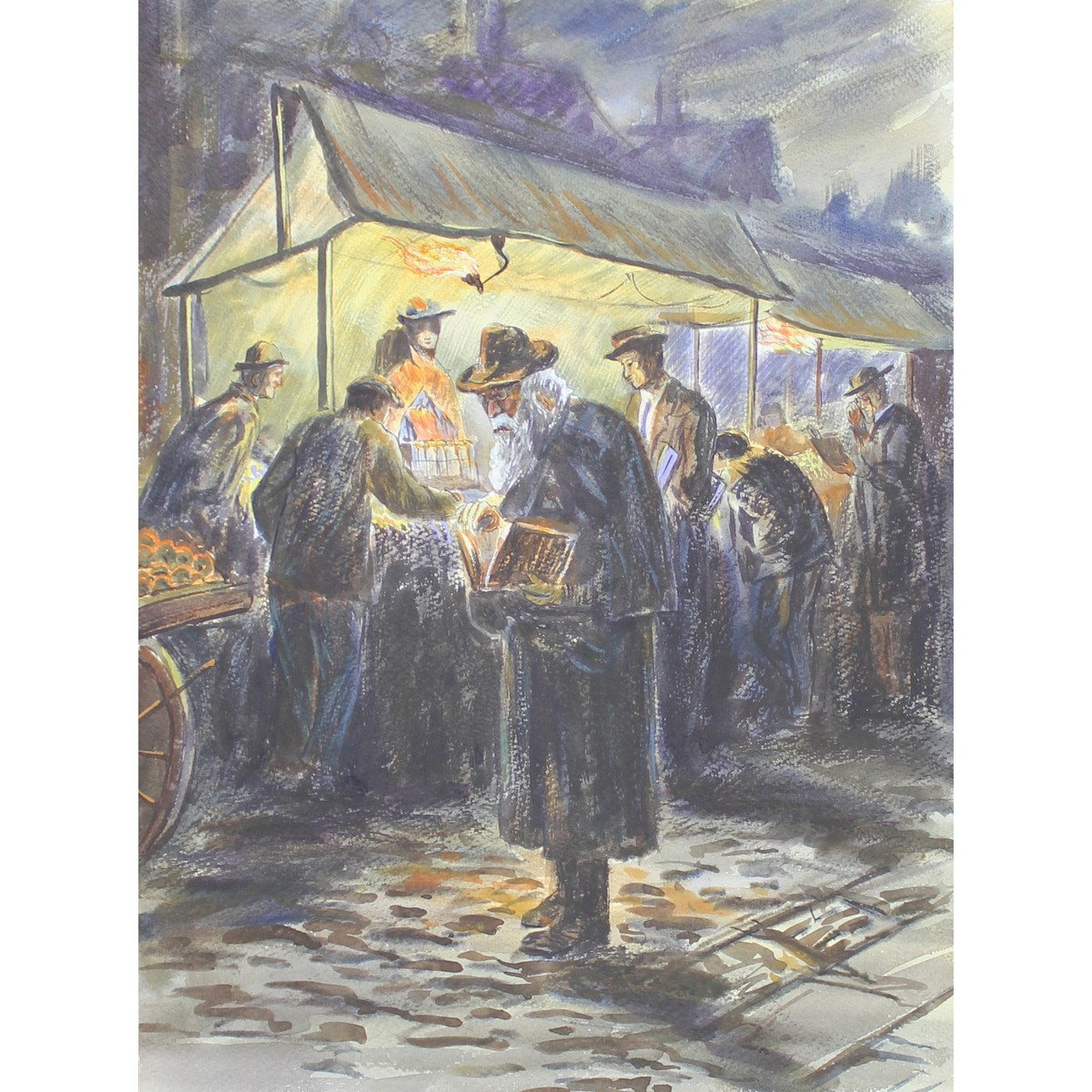 Lot 61 - Five coloured Lithographs. Victorian Street Scene, Pheasants, Market Stalls, The Thames, Horse and C