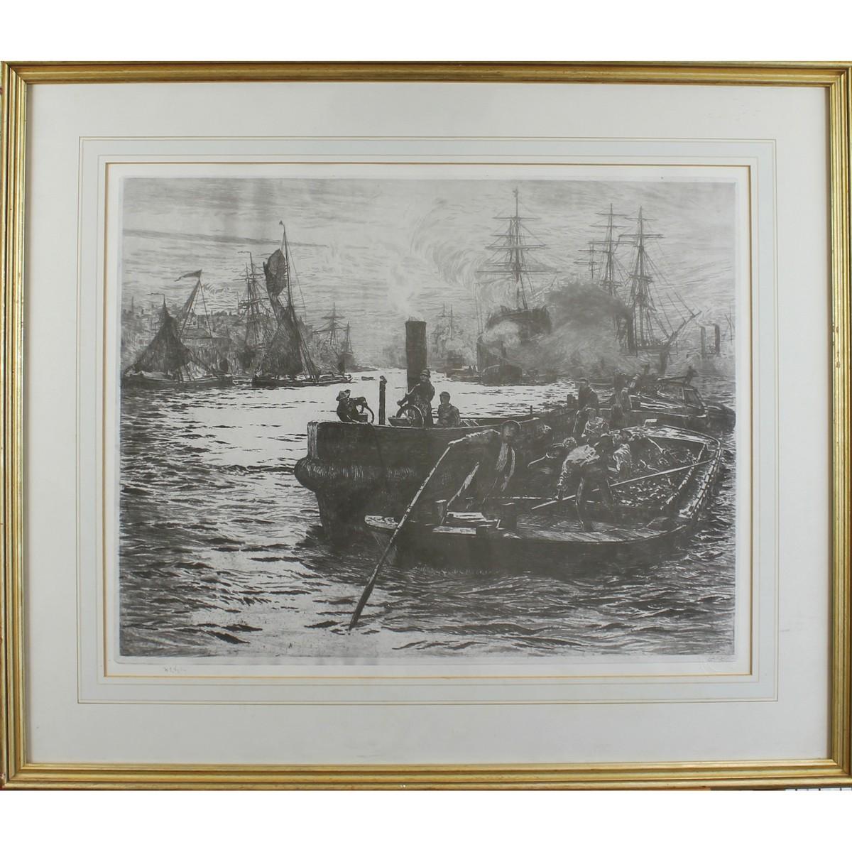 Lot 34 - Wyllie, William Lionel 1851-1931 British Busy Harbour.