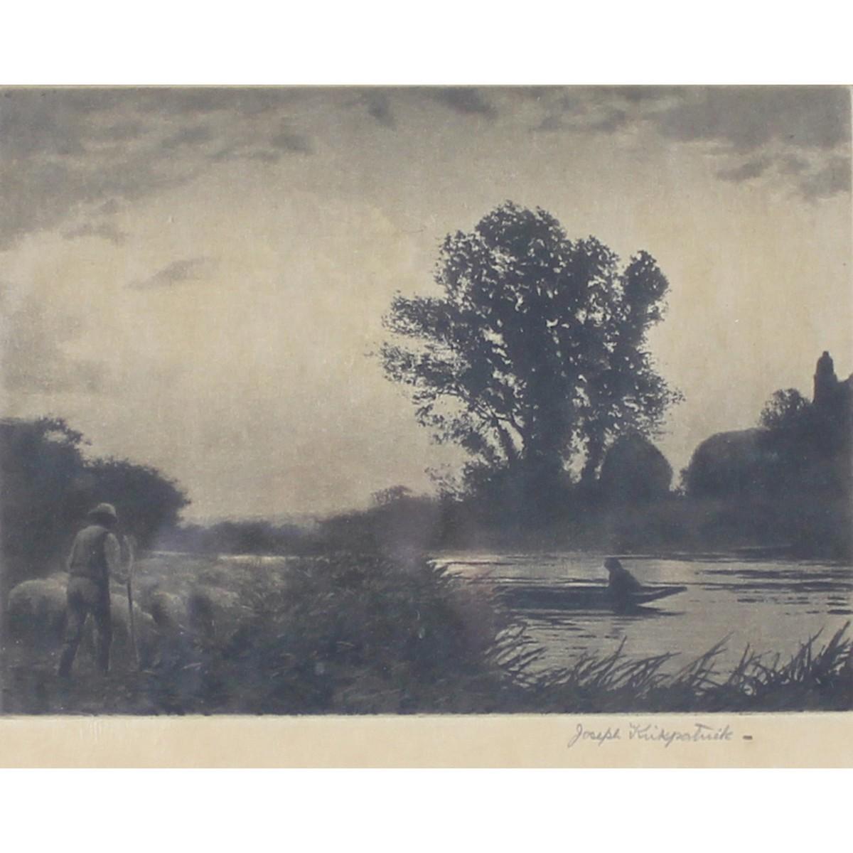 Lot 63 - Kirkpatrick, Joseph 1872-1936 British, (Two Items) Horses Ploughing by a Windmill