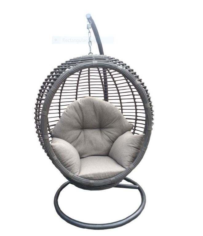 Beautiful grace swing chair multi grey all weather rattan for Circle swing chair