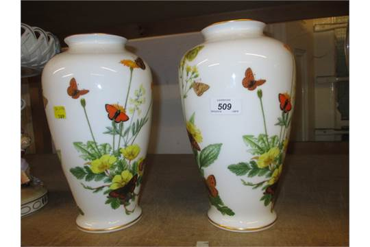 Franklin Porcelain A Pair Of Alpine Butterfly Vases By John