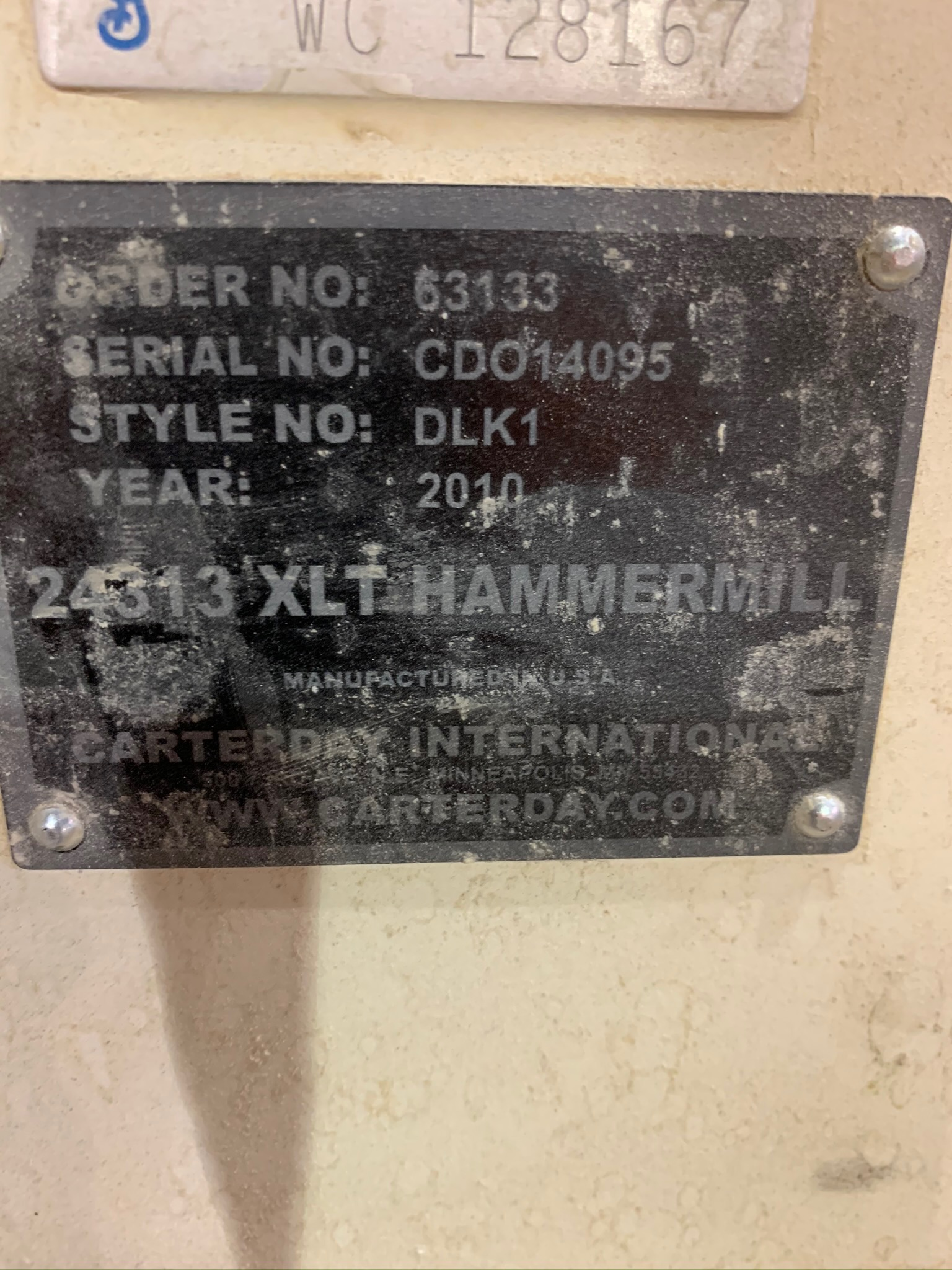Carter Day Jacobson Hammermill Style DLK1 S/N CDO14095 24313 XLT Hammermill 60 HP With Magnet (Riggi - Image 3 of 6
