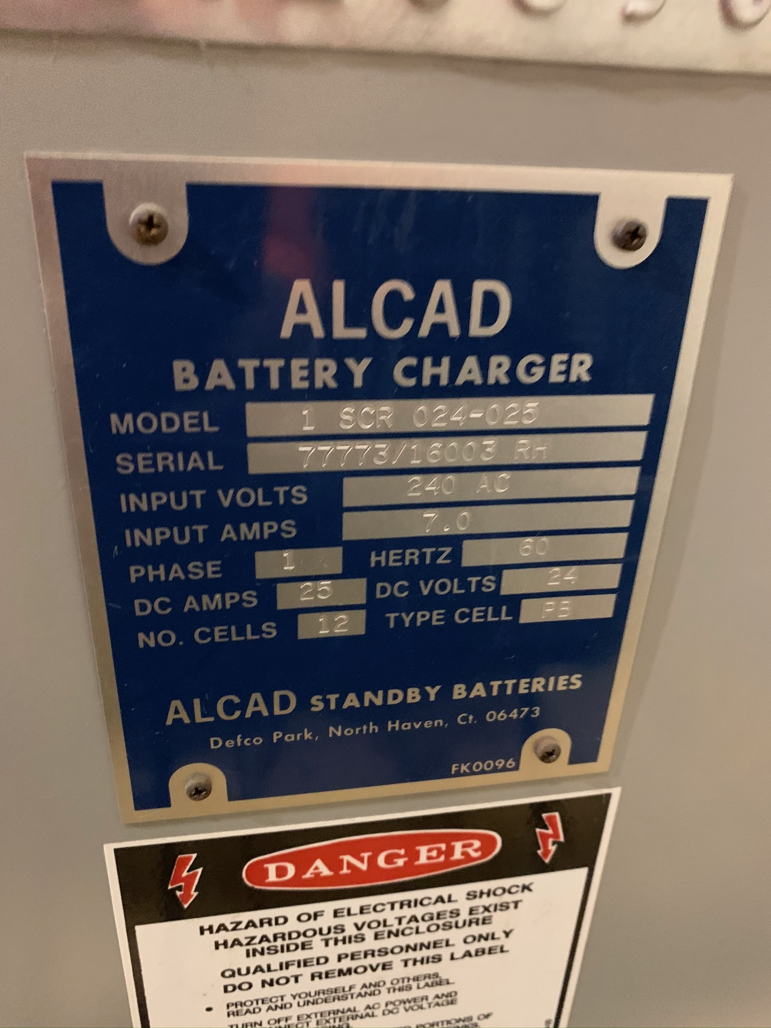 Lot 43 - Alcad Battery Charger Model 1 SCR 024-025 S/N 77773/16003 RH (Rigging Fee - $50)
