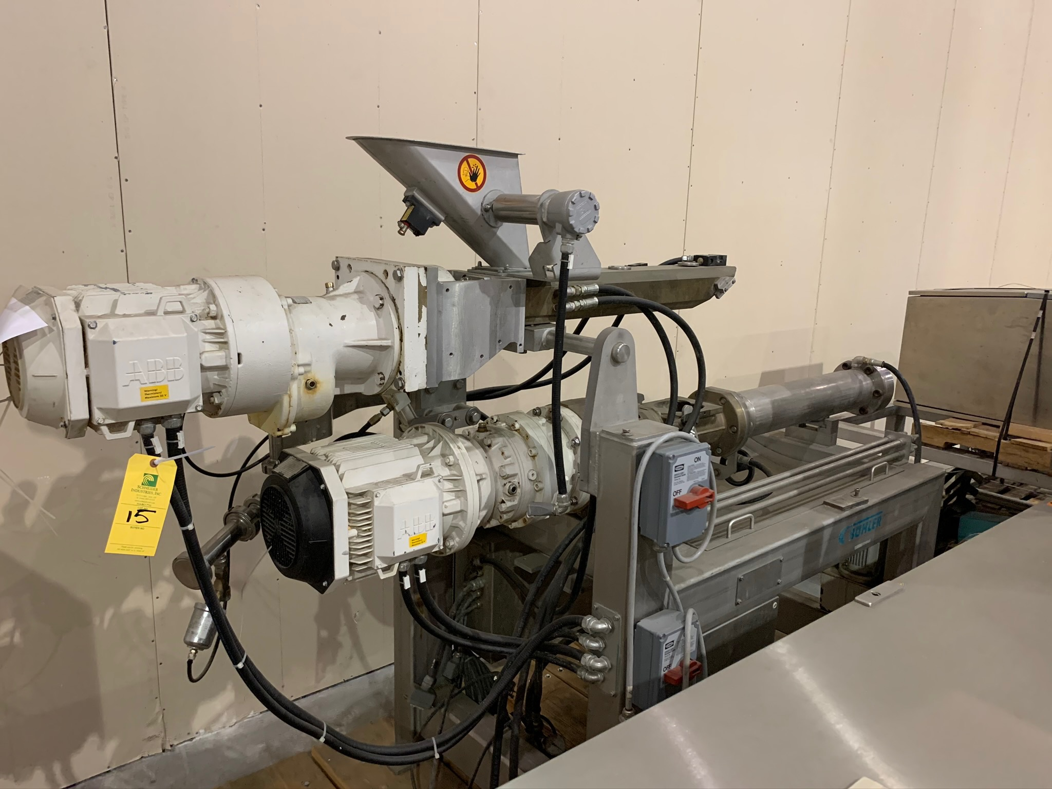 Buhler Twin Screw Extruder Model M-MN-400 S/N 10321928 with Control Panels and Auger Cart, with (Rig