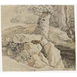 LESSING, KARL-FRIEDRICH1808 Wroclaw - 1880 KarlsruheTitle: Forest Landscape with Rocks. Study.