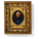 PRUSSIAN COURT PAINTER18. Jh.Title: Miniature Portrait of Frederick the Great with Victory Wreath.