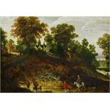 MOMPER, PHILIPPE DEAntwerp 1598 - 1634Title: Rider and Hiker in a Wooded Hilly Landscape. Technique: