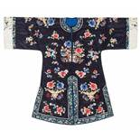 A MIDNIGHT BLUE SILK LADY'S ROBE WITH FLOWERS AND BUTTERFLIES, 1920s Silk with multi-colored silk