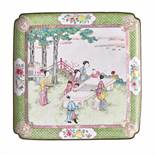 A FAMILLE ROSE 'WEIQI PLAYERS' CANTON ENAMEL TRAY, QING DYNASTY, 18TH CENTURY Multicolored enamels