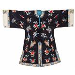 A 1920s MIDNIGHT BLUE SILK LADY'S ROBE WITH FLOWERS AND BUTTERFLIES Silk with multi-colored silk and
