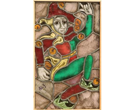 AN ARTS AND CRAFTS STAINED AND LEADED GLASS WINDOW, depicting a jester, now in a wooden frame. Overall 55.5cm by 36cm