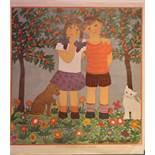 BREIT, HertaMädchen und Junge unter einem Kirschbaum 1924. 54 x 47 cm. Kolorierte Original-