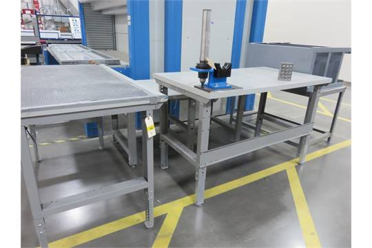 3 ULINE WORKBENCH TABLES W/TOOL SETTERS, 1 METAL FRAME TABLE, 1 METAL  SHELVING UNIT