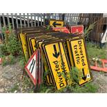 Large Quantity of Various Traffic Management Road Signs As Shown - Approximately 50-60 Various Signs