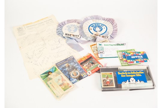 Lot 557 - SMALL QUANTITY OF FOOTBALL MEMORABILIA to include; ticket stubs from Wembley, rosettes etc......