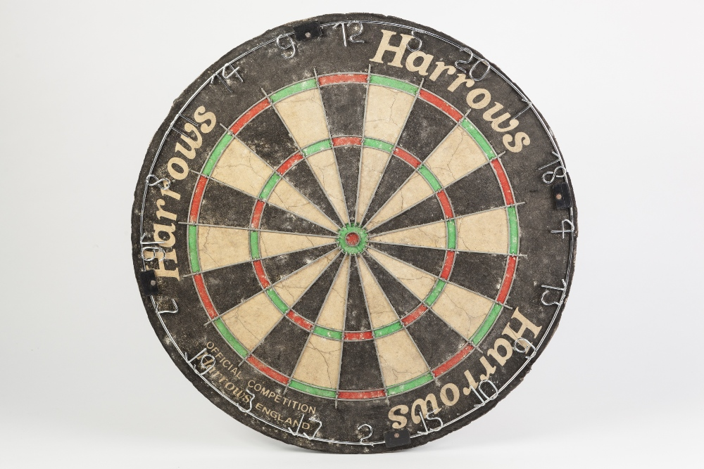 Lot 488 - AUTOGRAPHED STAN JAMES WORLD MATCHPLAY 'HARROWS' DARTBOARD, BLACKPOOL 2002 WITH TWENTY SIGNATURES,