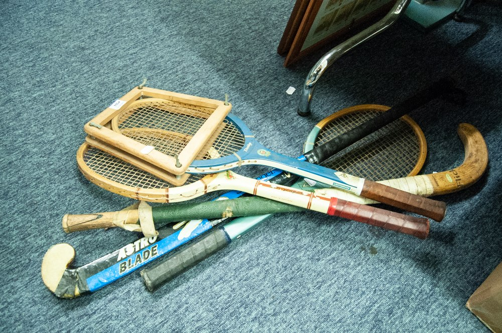 Lot 564 - THREE WOODEN TENNIS RACKETS AND TWO WOODEN HOCKEY STICKS (5)