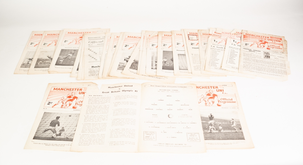 Lot 532 - NINE MANCHESTER UNITED RESERVE HOME PROGRAMMES SEASON 1962/63 all without tokens, 15 from season