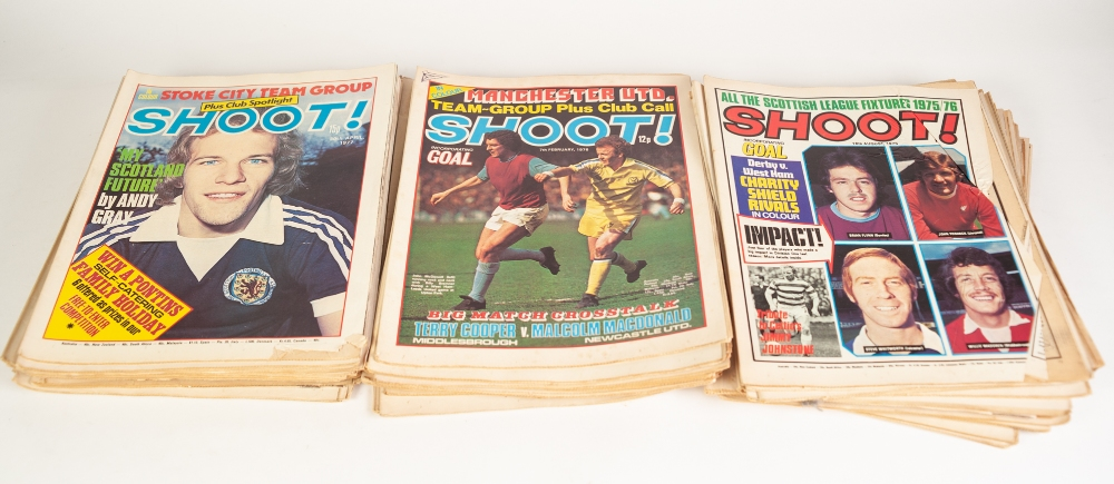 Lot 556 - SCOOP FOOTBALL MAGAZINES Issues 1 - 100, Issues 52, 86, 95 missing, 135 Shoot Magazine from 1974