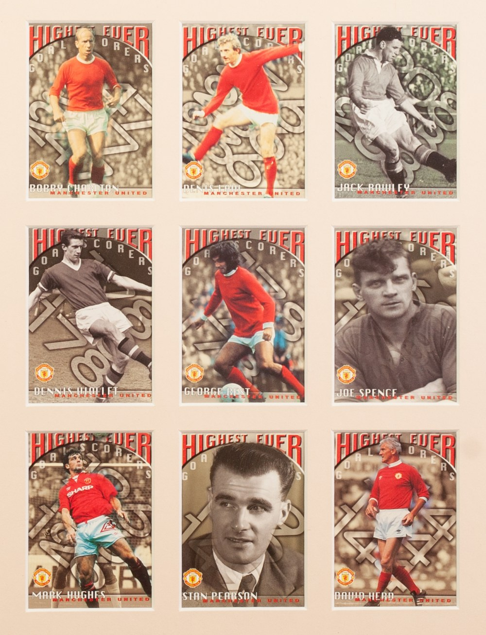 Lot 540 - THREE FRAMED AND GLAZED CARDS OF MANCHESTER UNITED PLAYERS, European Champions 1999, The Treble