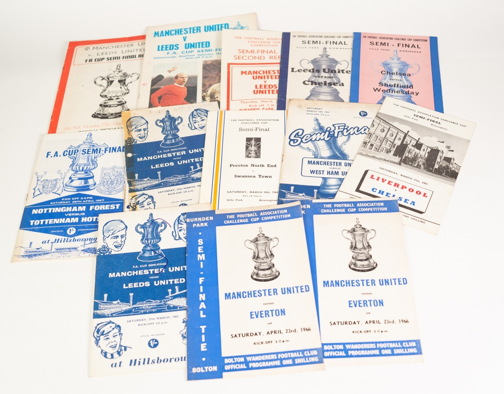 Lot 527 - THIRTEEN VARIOUS FA CUP SEMI FINALS TO INCLUDE; Manchester United V Leeds Second replay ad Bolton