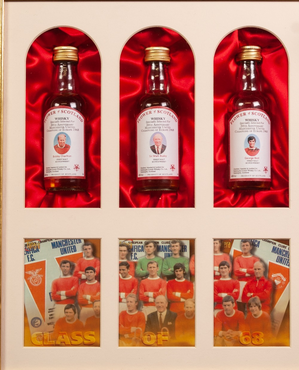 Lot 513 - FLOWER OF SCOTLAND - 3 MINIATURE BOTTLES CLASS OF '68 IN A FRAME, glazed and A PICTURE OF LNER No.