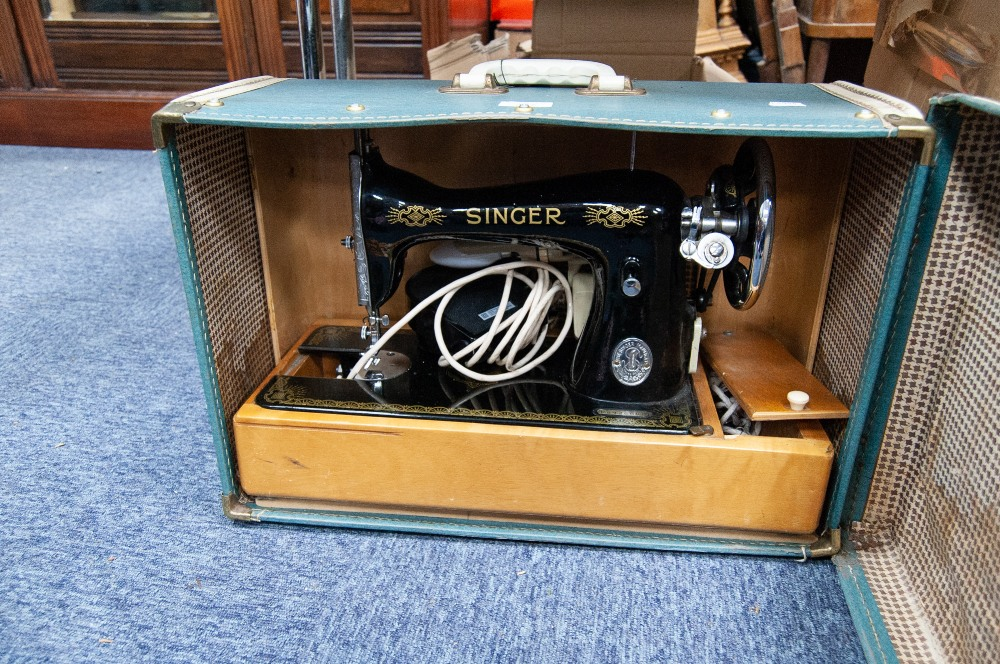 Lot 267 - 1960s SINGER SEWING MACHINE, IN BLUE CASE