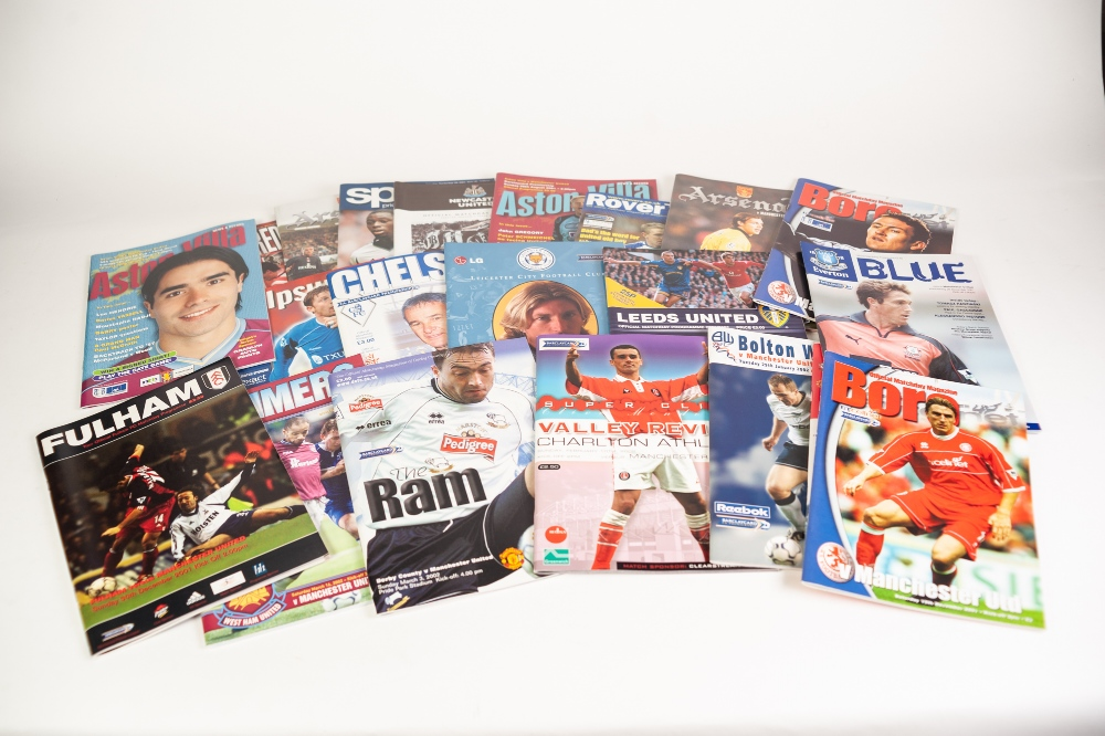 Lot 508 - MANCHESTER UNITED - SEASON 2001-02 HOME PROGRAMMES, 21 AWAY PROGRAMMES and 17 various Euro sport