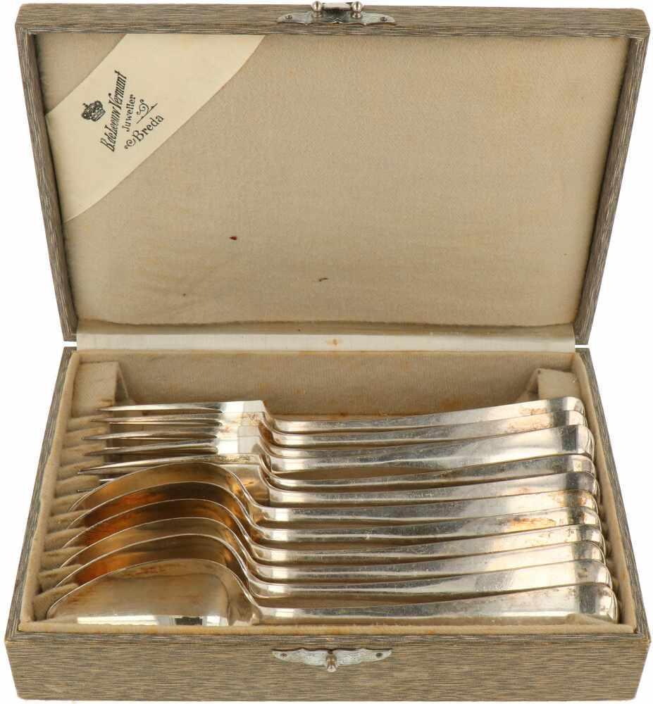 """(12) Delige set diner lepels & vorken 'HAAGS LOFJE' zilver.Model """"HAAGS LOFJE"""" in originele etui. - Bild 2 aus 8"""