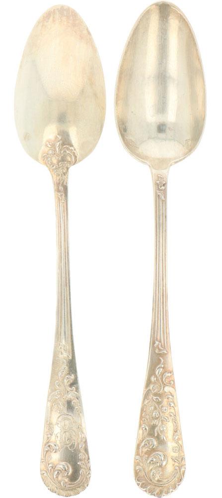 (6) Delige set dessert lepels zilver.Voorzien van gegoten Jugendstil florale versieringen. - Bild 2 aus 3