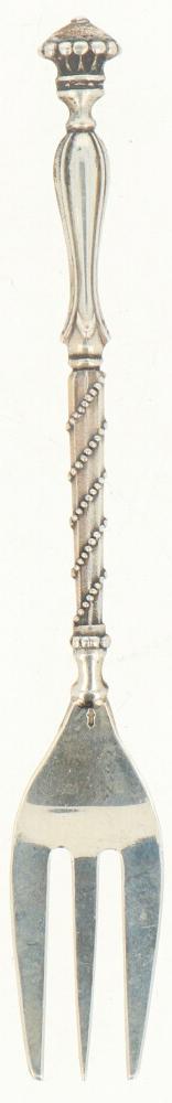 (12) Delige set gebaksvorkjes zilver.Baluster vormig handvat versierd met parelranden. Nederland, - Bild 2 aus 3