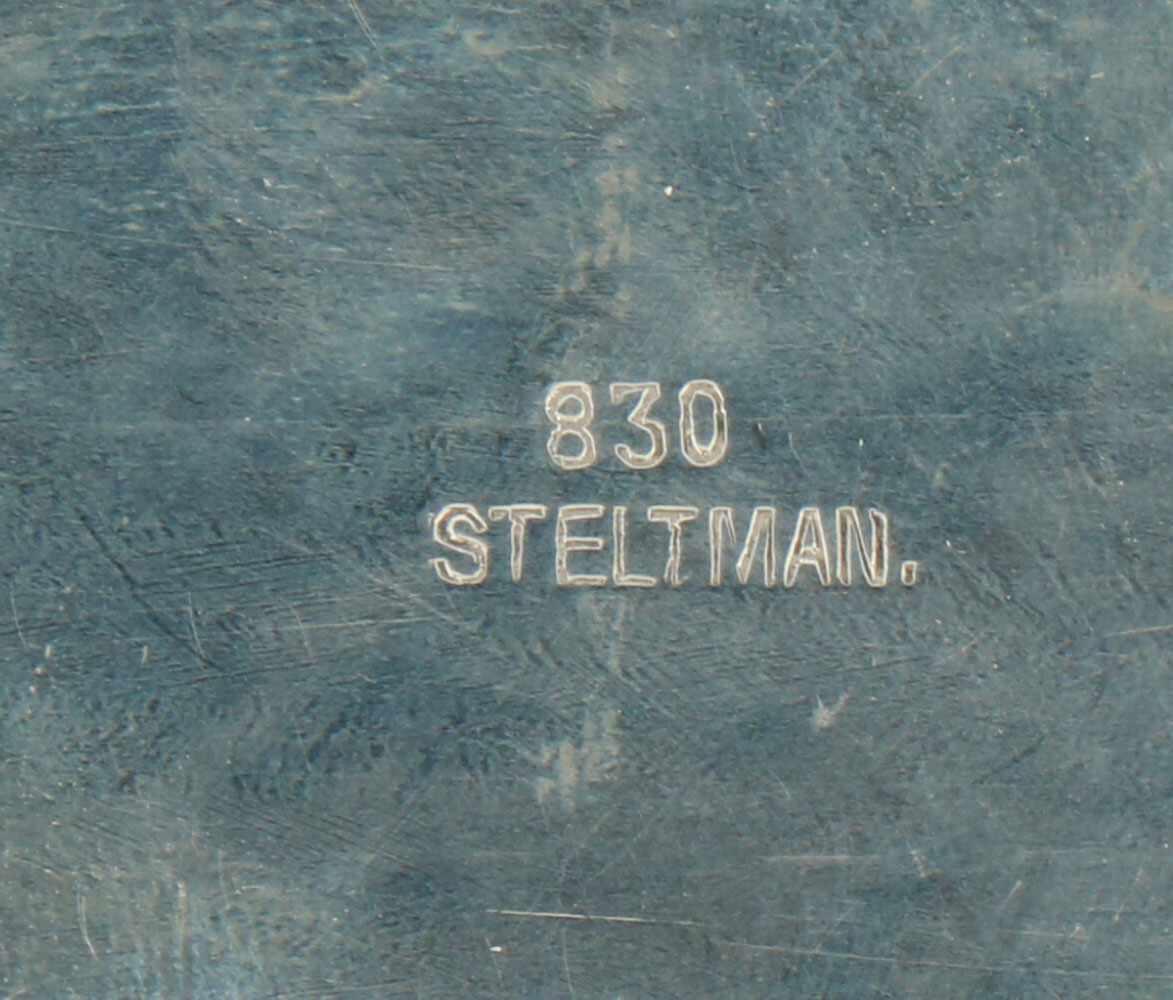 Dienblad zilver.Ovaal gehamerd model. Nederland, Steltman, 20e eeuw, Keurtekens: 830, Steltman, V - Bild 3 aus 3