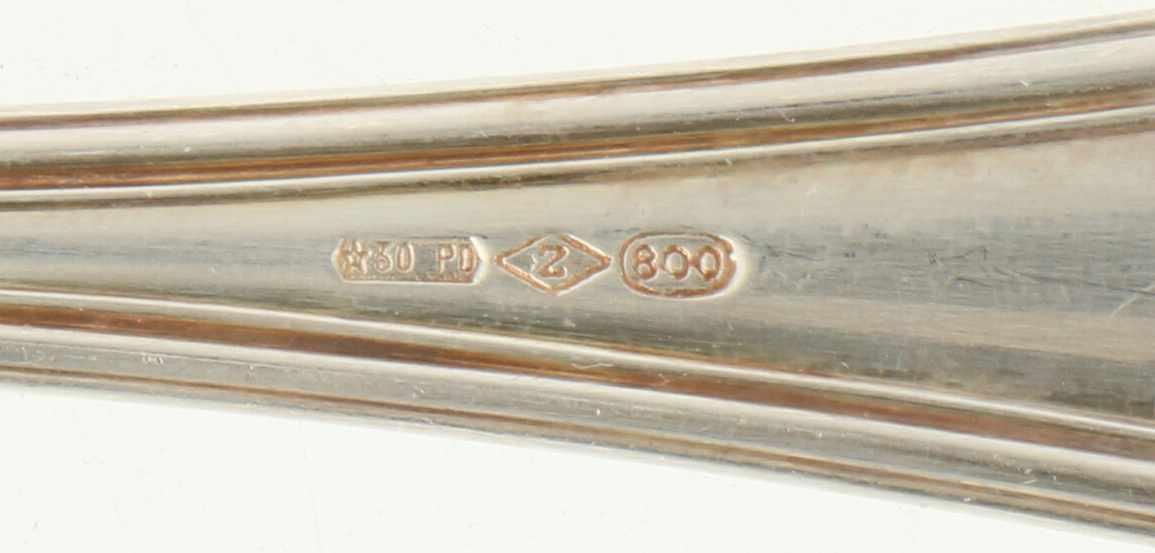 (11) Delige set Koffielepels & gebakschep zilver.Voorzien van meegegoten ronde rand versiering. - Bild 3 aus 4