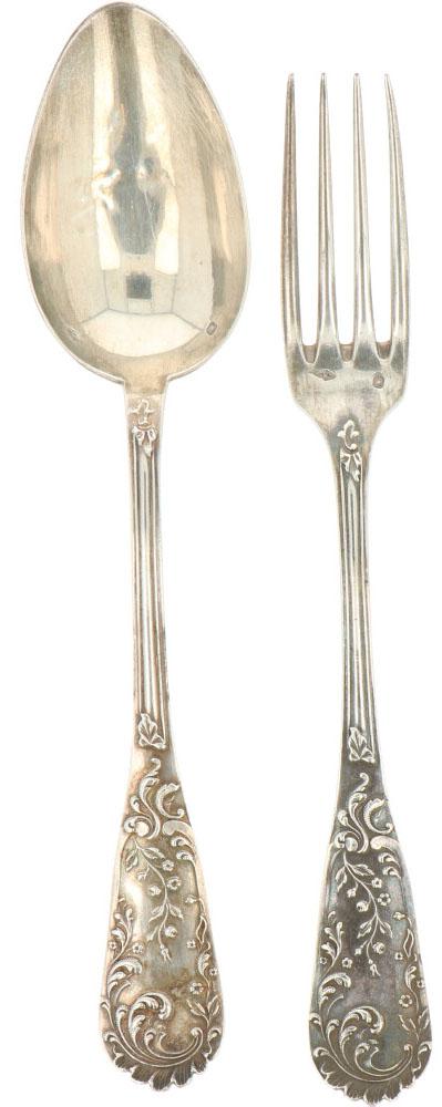 (12) Delige set lepels & vorken zilver.Voorzien van gegoten Jugendstil florale versieringen. - Bild 2 aus 3