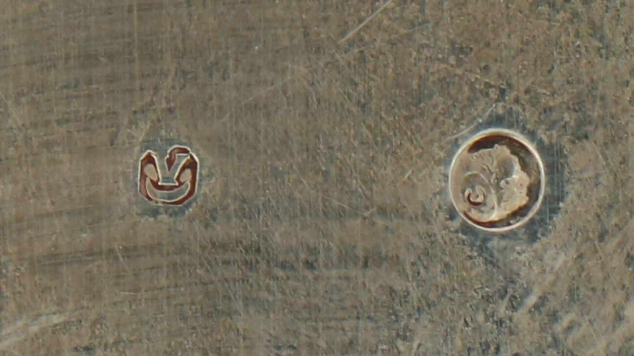 Dienblad zilver.Klein ovaal model voorzien met ajour opengewerkte randen en opgesoldeerde - Bild 3 aus 4