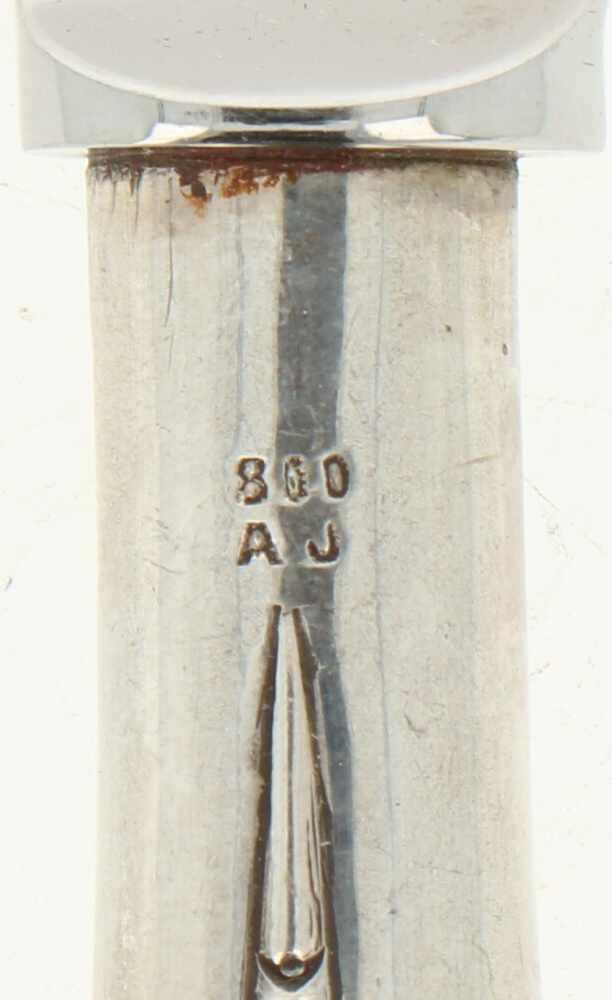 (6) Delige set Diner messen zilver.Uitgevoerd met Roestvrij lemmet, handvat gedecoreerd met - Bild 5 aus 5