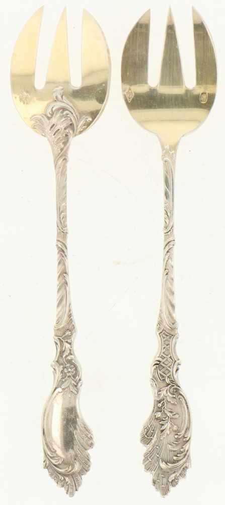 (11) Oestervorkjes zilver.Met rocaille decoratie en vergulde vorktandjes. Frankrijk, Parijs, V. - Bild 2 aus 4