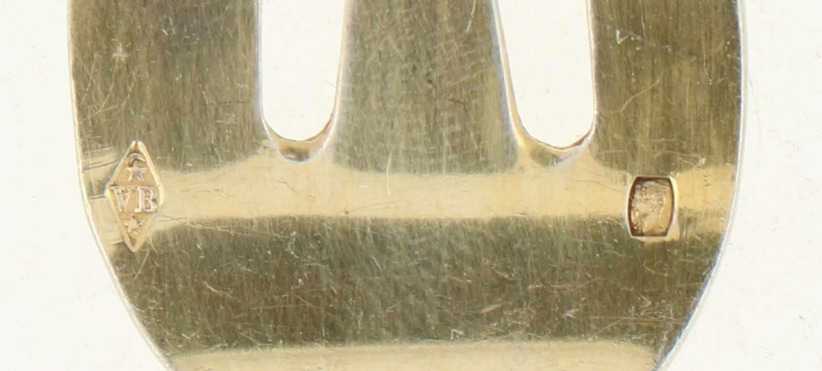 (11) Oestervorkjes zilver.Met rocaille decoratie en vergulde vorktandjes. Frankrijk, Parijs, V. - Bild 4 aus 4