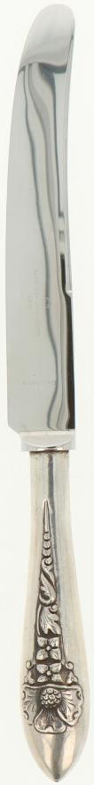(6) Delige set Diner messen zilver.Uitgevoerd met Roestvrij lemmet, handvat gedecoreerd met - Bild 2 aus 5