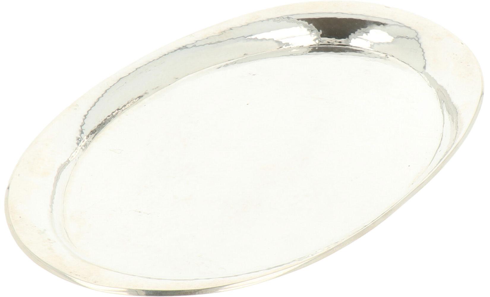 Dienblad zilver.Ovaal gehamerd model. Nederland, Steltman, 20e eeuw, Keurtekens: 830, Steltman, V - Bild 2 aus 3