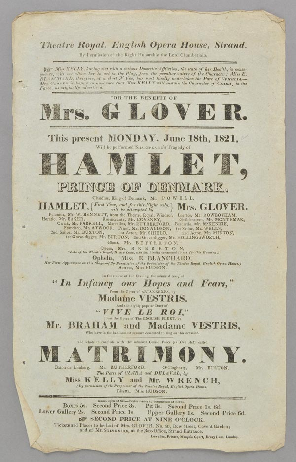 Lot 280 - Theatre Playbills. A group of 8 printed letterpress playbills, 1820-26,  all for performances of